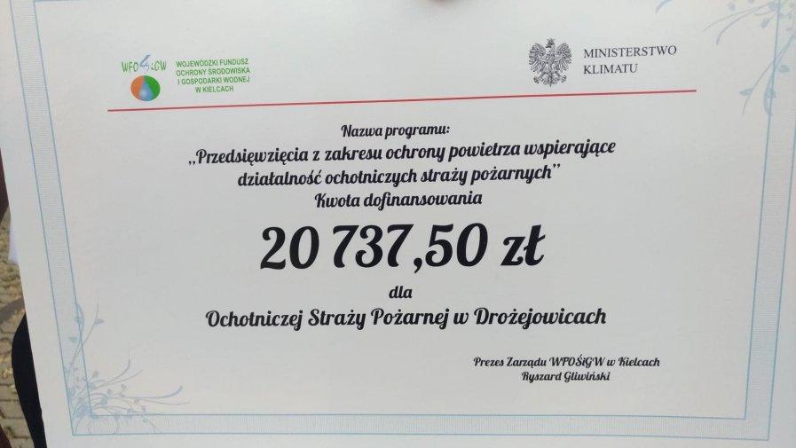 Dofinansowanie dla OSP Drożejowice